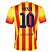 Nike FC Barcelona 'MESSI 10' Away Youth '13-'14 Replica Soccer Jersey (University Red/Vibrant Yellow)