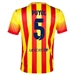 Nike FC Barcelona 'PUYOL 5' Away '13-'14 Youth Replica Soccer Jersey (University Red/Vibrant Yellow)