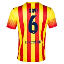 Nike FC Barcelona 'XAVI 6' Away '13-'14 Youth Replica Soccer Jersey (University Red/Vibrant Yellow)