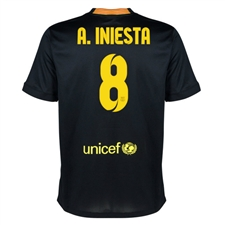 Nike FC Barcelona 'A. INIESTA 8' Third '13-'14 Youth Replica Soccer Jersey (Black/Vibrant Yellow/University Red/Vibrant Yellow)