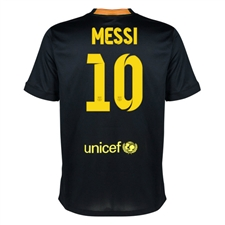 Nike FC Barcelona 'MESSI 10' Third Youth '13-'14 Replica Soccer Jersey (Black/Vibrant Yellow/University Red/Vibrant Yellow)