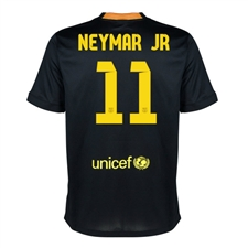 Nike FC Barcelona 'Neymar 11' Third '13-'14 Youth Replica Soccer Jersey (Black/Vibrant Yellow/University Red/Vibrant Yellow)