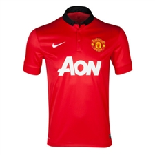 Nike Manchester United Youth Home '13-'14 Replica Soccer Jersey (Diablo Red/White/Black)