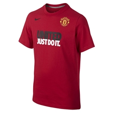 Nike Youth Manchester United Just Do It Core Read T-Shirt (Diablo Red)