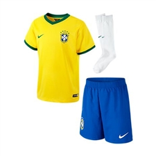 Nike Brasil Little Boys Home 2014 Replica Soccer Jersey Kit (Varsity Maize/Pine Green)