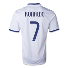 Nike Portugal 'RONALDO 7' Away 2014 Youth Replica Soccer Jersey (Football White/Deep Royal Blue)