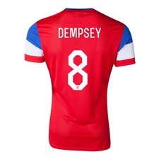 Nike Youth USA 'DEMPSEY 8' 2014 Away Replica Soccer Jersey (University Red/Football White/Game Royal)