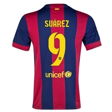 Nike FC Barcelona 'SUAREZ 9' Home '14-'15 Youth  Replica Soccer Jersey (Loyal Blue/Noble Red/Sunlight)