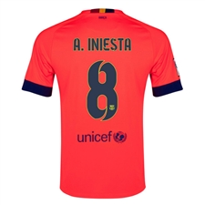 Nike FC Barcelona 'A. INIESTA 8' Away '14-'15 Youth Replica Soccer Jersey (Bright Crimson/Noble Red/Loyal Blue)