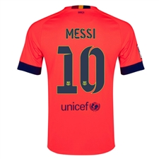 Nike FC Barcelona 'MESSI 10' Away '14-'15 Youth Replica Soccer Jersey (Bright Crimson/Noble Red/Loyal Blue)
