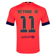 Nike FC Barcelona 'NEYMAR JR 11' Away '14-'15 Youth Replica Soccer Jersey (Bright Crimson/Noble Red/Loyal Blue)