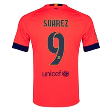 Nike FC Barcelona 'SUAREZ 9' Away '14-'15 Youth Replica Soccer Jersey (Bright Crimson/Noble Red/Loyal Blue)