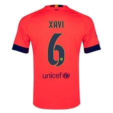 Nike FC Barcelona 'XAVI 6' Away '14-'15 Youth Replica Soccer Jersey (Bright Crimson/Noble Red/Loyal Blue)