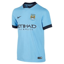 Nike Manchester City Youth Home '14-'15 Replica Soccer Jersey (Field Blue/Obsidian)