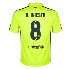 Nike FC Barcelona 'A. INIESTA 8' Third '14-'15 Youth Replica Soccer Jersey (Volt Ice/Volt/Loyal Blue)