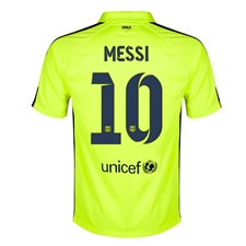 Nike FC Barcelona 'MESSI 10' Third '14-'15 Youth Replica Soccer Jersey (Volt Ice/Volt/Loyal Blue)