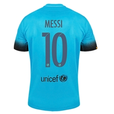 Nike FC Barcelona 'MESSI 10' Third '15-'16 Youth Soccer Jersey (Light Current Blue/Black)