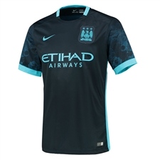 Nike Manchester City Youth Away '15-'16 Soccer Stadium Jersey (Dark Obsidian/Blue Force/Chlorine)
