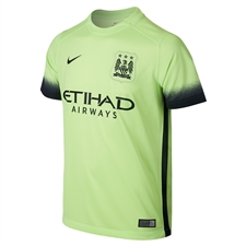 Nike Manchester City Youth Third '15-'16 Soccer Stadium Jersey (Ghost Green/Black)