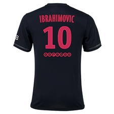 Nike Paris St. Germain 'IBRAHIMOVIC 10' Third '15-'16 Youth Soccer Jersey (Black/Metallic Silver)