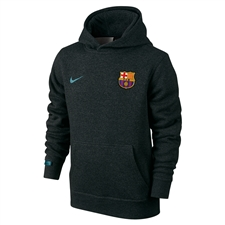 Nike FC Barcelona Youth Core Hoodie (Black Heather/Light Current Blue)