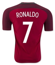Nike Youth Portugal 2016 Stadium Home 'RONALDO 7' Soccer Jersey (Gym Red/Deep Garnet/White)