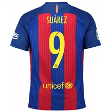 Nike FC Barcelona Home 'SUAREZ 9' '16-'17 Youth Soccer Jersey (Sport Royal/Gym Red/University Gold)