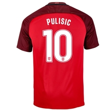 Nike Youth USA 'PULISIC 10' 3rd Stadium Soccer Jersey (Gym Red/Metallic Silver)