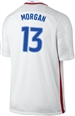 Nike USA 2016 OLYMPIC RIO 'MORGAN 13' Youth Soccer Jersey (White/Royal/Red)