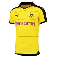 Puma Borussia Dortmund '15-'16 Youth Home Soccer Jersey (Cyber Yellow/Black)