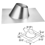 "DuraVent 46DVA-F6 Galvanized 4"" x 6-5/8"" Galvanizedl Adjustable Roof Flashing for Roof Pitch of 0/12 - 6/12"