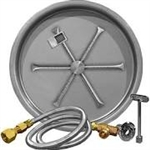 "Firepit System: Firegear 19"" Round G90 Series Stainless Steel Pan with Stainless Steel 16"" Burning Spur, TMS Ignition,65,000 BTU (NG or LP)"