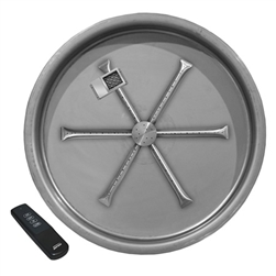 "Firepit System: Firegear 25"" Round G90 Series Stainless Steel Pan with Stainless Steel 22"" Burning Spur, TFS Electronic Ignition,105,000 BTU on High, 51,000 BTU on Low (NG or LP)"