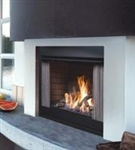 KINGSMAN OFP42N OUTDOOR GAS FIREPLACE WITH LOGS VENT FREE - SATIN COAT BLACK