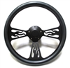 14 Black Flame Carbon Fiber Half Wrap Steering Wheel
