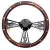 14 Inch Black Flame Pine Wood Half Wrap Steering Wheel