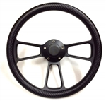 14 Inch Black Muscle Carbon Fiber Half Wrap Steering Wheel