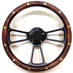14 Inch Black Muscle Pine Wood Half Wrap Steering Wheel
