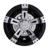 8 Inch Vegas Black & Chrome Wheel Cover Golf Cart Hub Cap