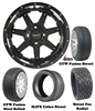 "14"" Blackhawk Black Wheels with Low Profile Golf Cart Tire"