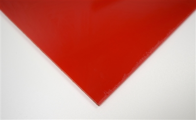 "1/8"" X 24"" X 48"" Red #2157 Cast Acrylic Paper-Masked Sheet"