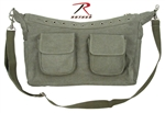 Classic Sage Top Zip 2-Pocket Shoulder Bag w/Grommets