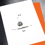 "Halloween  "" Ghost & Pumpkin ""  HW18 Greeting Card"