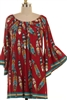 Burgundy Boho Feather Tunic
