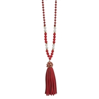 Crimson Suede Tassel Necklace