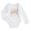 Mud Pie One Piece Crawler Bodysuit, Little Baby Sister, Gift Boxed