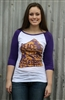 Peace, Love, Freedom in Purple Baseball Tee