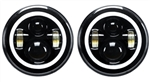 "Def LHD Black Full Halo LED Headlights 7"" Pair (E Marked)"