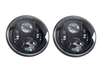 Def BLACK CRYSTAL LED headlights pair LHD