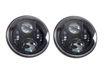 Def BLACK CRYSTAL LED headlights pair RHD